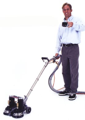 Person using a Rotovac to clean carpets with just one hand!